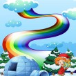 Elf near igloo with rainbow in sky — Stock Vector #39488275