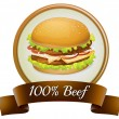 Pure beef label with burger — Stock Vector #39488309