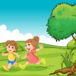 Stock Vector: Two adorable little kids playing at hilltop near tree