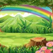 A rainbow and a forest — Vector de stock