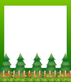 An empty paper template with pine trees and a garden at the bott — Stock Vector