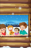 A family at the window — Stock Vector