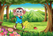 A monkey at the forest with bananas — Stock Vector