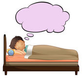 A young boy with an empty thought while sleeping — Stock Vector