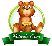 A nature's own label with a bear — Stock Vector