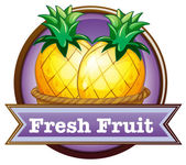A fresh fruit label with pineapples — Stock Vector