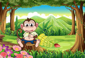 A monkey at the forest with a full stomach — Stock Vector