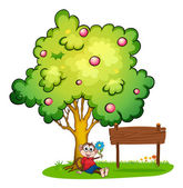 A monkey sitting under the tree beside the empty wooden board — Stock Vector