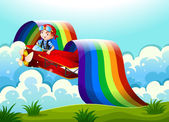 A plane with a young boy and a rainbow in the sky — Stock Vector