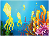 Yellow squids near the coral reefs — Stock Vector