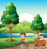 Boys playing at the riverbank — Stock Vector