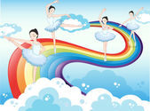 Ballet dancers in the sky with a rainbow — Stock Vector