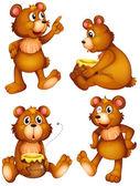 Four brown bears — Stock Vector