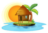 An island with a small hut — Stock Vector