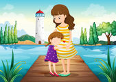 A young girl hugging her mother at the bridge — Stock Vector