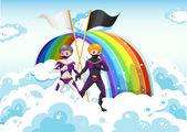 Superheroes in the sky near the rainbow — Stock Vector