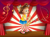 A young musician at the stage — Stock Vector