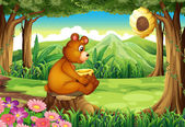A bear at the forest near the beehive — Stock Vector