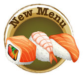 A new menu label with sushi — Stock Vector