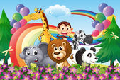 A group of animals at the hilltop with a rainbow and balloons — Stock Vector