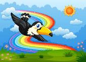 A bird in the sky with a rainbow — Stock Vector