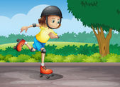 A young girl rollerskating at the street — Stock Vector