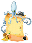A treasure map with a big octopus — Stock Vector