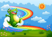 A rainbow in the sky with a green crocodile — Stock Vector