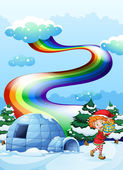 An elf near the igloo with a rainbow in the sky — Stock Vector
