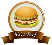 A pure beef label with a burger — Stock Vector