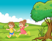 Two adorable little kids playing at the hilltop near the tree — Stock Vector