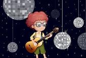 Disko evde gitarı ile oynayan bir boy — Stok Vektör