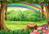 A rainbow and a forest — Stock Vector