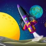 A colorful aircraft near the moon — Stock Vector