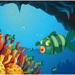Постер, плакат: A school of stripe colored fishes under the sea