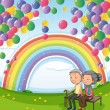An old couple below the floating balloons and the rainbow — Stock Vector
