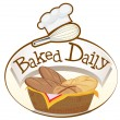 A baked daily label with a basket of breads — Stock Vector #40578459