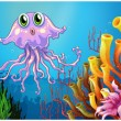 Cute jellyfish near coral reefs — Stock Vector #40578499