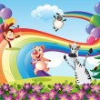 Animals playing at the hilltop with a rainbow — Stock Vector