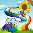 Two bees at the hilltop and a rainbow in the sky — Stock Vector
