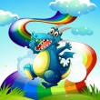 A dragon at the hilltop and a rainbow in the sky — Stock Vector #40578721