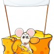图库矢量图片: Mouse eating below empty banner