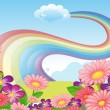 Flowers at the hilltop and a rainbow in the sky — Stock Vector #40578845