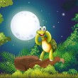 Stock Vector: Smiling turtle at forest in middle of night