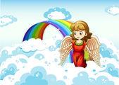 An angel in the sky near the rainbow — Vecteur