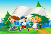 Three kids running with an empty flag banner — Stock Vector