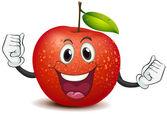 A smiling crunchy apple — Stock Vector