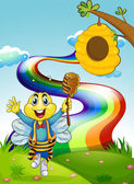 A happy bee at the hilltop with a rainbow — Stock Vector