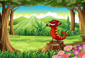 A lizard above the stump at the forest — Stock Vector