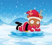 Santa's reindeer above the iceberg — Stock Vector